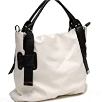 Designer Inspired Two-Tone Synthetic Leather Python Embossed Tote Bag - WHITE