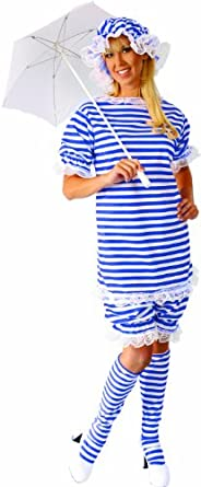 Alexanders Costumes Bathing Suit Female, Blue/White, Large