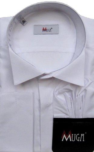 MUGA mens French-Cuff Dress shirt, Wing Collar, White, Size 5XL