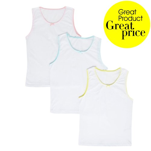 bluezoo Girl's Pack Of Three White Vests