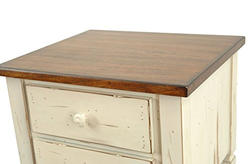 Safavieh American Home Collection Dorset Antique White and Dark Brown Two Drawer End Table 1