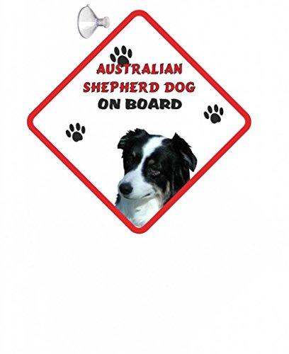 Australian Shepherd DOG-Cartello da appendere con ventosa per auto, in gomma, 18