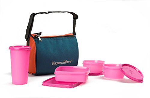 Signoraware Best Sapphire Plastic Lunch Box Set with Bag, 4 Pieces, Pink
