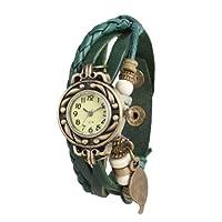 WLM Weave Wrap Around Leatheroid Made Bracelet Design Woman Quartz Wrist Watch Watches Clock Dark Green Color