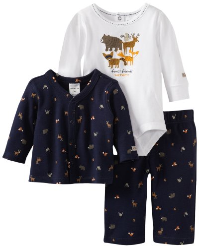 Carhartt Baby-Boys Newborn 3 Piece Gift Set Forest Friends, Blue, 6 Months front-862310