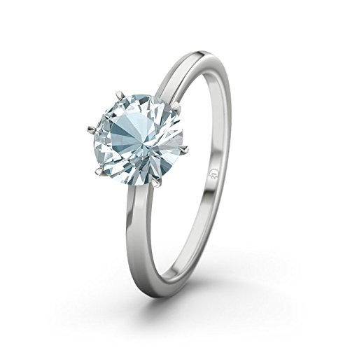 21DIAMONDS Women's Ring Alhambra Engagement Ring Brilliant Cut Aquamarine 18K White Gold Engagement Ring