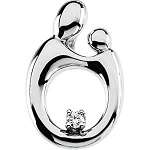 IceCarats Designer Jewelry 14K White Gold Mother And Child Diamond Pendant 20.75X13.75 Mm