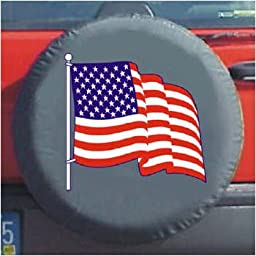 Black Bungee Spare Tire Cover (American Flag)