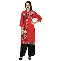 THE EG STORE Women Cotton A-Line Kurti, Red(EG-KRT-04_XL)