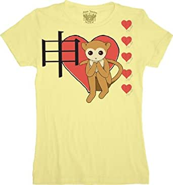 Fruits Basket Heart Monkey Juniors Yellow T-shirt (Small)