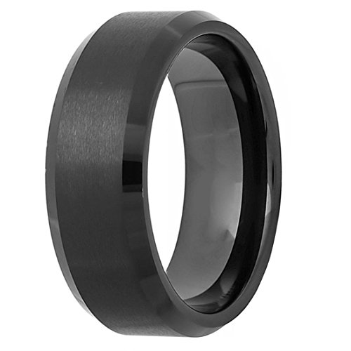 Freeman Jewels 8mm Black Tungsten Ring For Men Wedding Band Brushed Matte Finish Center95