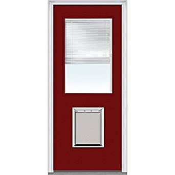 National Door Company Z004572r Steel Right Hand Prehung In Swing Entry Door With Pet Door Clear