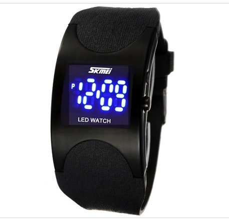Skmei 0951 3Atm Water Resistant Led Digital Display Alloy Case Silicone Band Arced Dial Sport Electronic Wrist Watch (Black) M.