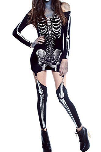 [MYQueen Womens Sexy Skull Adult Womens Halloween Catsuit Costume (L, Pattern 3)] (Toga Costumes Patterns)