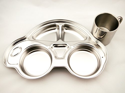 FINEX Children's Stainless Car Set with Divided Platter and Double Wall Drinking Cup