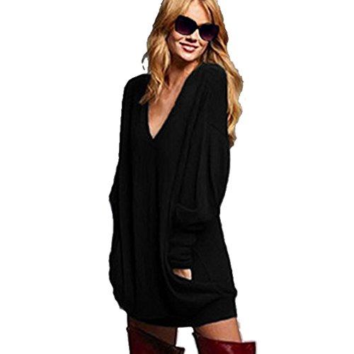 Bellezza Donna Maglie a manica Lunga Blusa V-Collo T-shirt Sciolto Maglia Lunga Blouse Camicetta Top