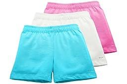 Sparkle Farms Girls Under Dress Shorts, 3-pack Aqua/White/Pink 7/8