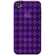 Amzer AMZ88402 Luxe Argyle High Gloss TPU Soft Gel Skin Case For IPhone 4/4S (Purple)