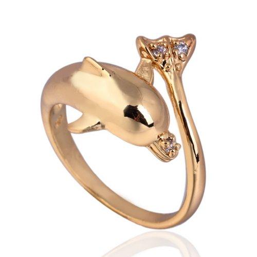 C-Princessリング 指輪 ring 18Kゴールドメッキ コーティン ラインストーン レディース 女性 アクセサリー ジュエリー ウェディング エンゲージリング イルカ型 (16)