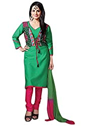 Lifestyle Women's Cotton Unstitched Dress Material (162031903291_Green_Medium)
