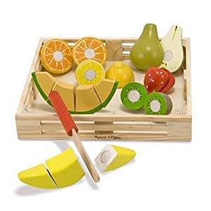 Melissa Doug Deluxe Wooden Cutting Fruit Crate Toy Toys Games