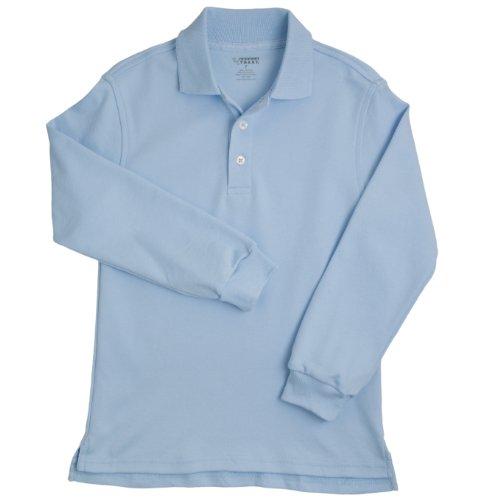 French Toast School Uniforms Long Sleeve Interlock Knit Polo Boys Blue 7 front-286932