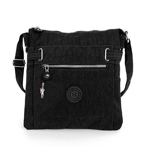 sportliche-Handtasche-Schultertasche-Umhngetasche-aus-Nylon-schwarz