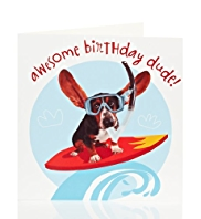 Boy Surfer Dog Kids Birthday Card