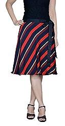 DeeVineeTi Striped Women's Wrap Around Skirt, Blue & Red, FreeSize