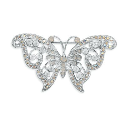 Butterfly Pin Accented with White Opal and AB Rainbow Swarovski Crystals Fine Silver Plate