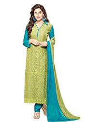 Adorn Fashion New Lime Green & Sky Blue Embroidered Dress Material