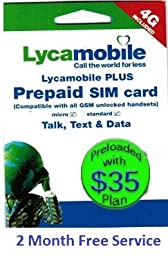 Lycamobile Preloaded Sim Card with $35 Plan Include 2 Month Free Service