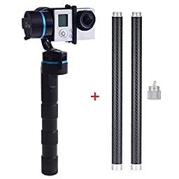 Neewer Feiyu 3-axis Handheld Gimbal for GoPro 3+/3 + 2 * Carbon Fiber Extension Bar + 1 * Converter Switch for GoPro 3+/3 with 4 Pieces Batteries