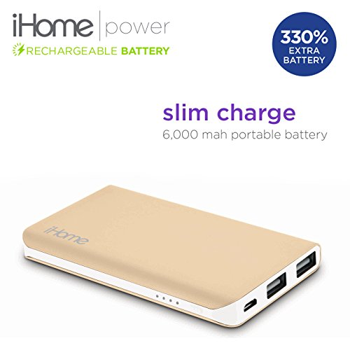 New iHome Slim Charge 6000 mAh Mobile External USB Battery Pack Portable Power Bank / Charger For Cell Phone, iPhone, Galaxy, Android (Gold) (Halo Juice compare prices)