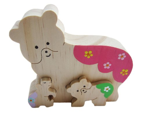 Picture of Patricia Avenue Handmade Artisan Organic Wood Decorative Puzzle - Bear Family I (Hand-painted) (B004DTKB12) (Pegged Puzzles)
