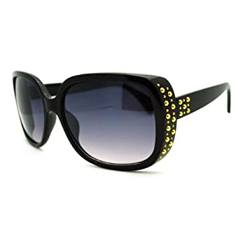 03605aa361f53 Cheap Seek Out Womens Classy Square Sunglasses with Gold Round Studs