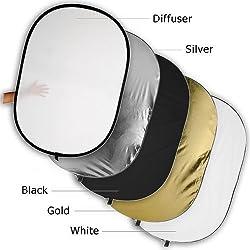 Fotodiox 40x60 5-in-1 Oval Reflector Pro Premium Grade Collapsible Disc Soft Silver/Gold/Black/White/Diffuser