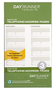 Day Runner Undated Planner Telephone and Address Refill, 3.75 x 6.75 Inches (013-230)