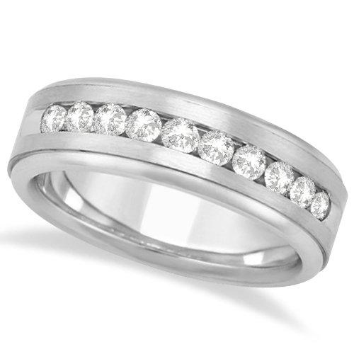 Allurez Men's Channel Set Diamond Ring Wedding Band 14kt White Gold (1/4ct) - Z