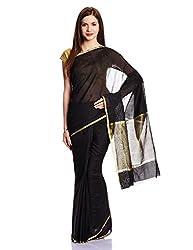 Pavechas Saree With Blouse Piece (MK1418_Black)