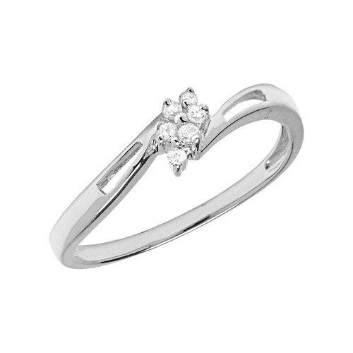 14K White Gold Diamond Cluster Ring (Size 11)