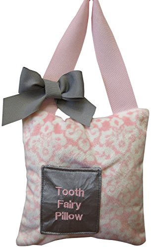 Caught Ya Lookin' Tooth Fairy Pillow, Pink Damask Minky, White, Gray