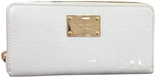 Women'S Michael Kors Items Continental Signature Mirror Metallic Wallet White