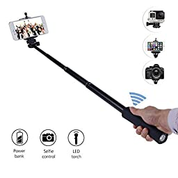 leminimo(TM) Bluetooth Selfie Stick with Built-in Powerbank, LED Torch, Wireless Remote Shutter for iPhone, Samsung and GoPro Self-portrait Extendable Monopod