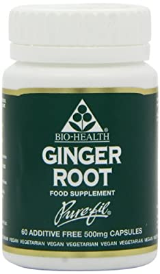 Bio-Health 500mg Ginger Root Powdered - Pack of 60 Capsules by Queenswood Natural Foods Ltd