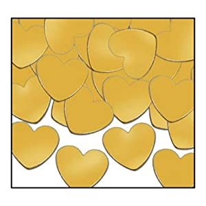 Fanci-Fetti Hearts (gold) Party Accessory  (1 count) (1 Oz/Pkg)