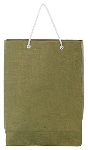 Utsav Kraft Paper 3 Ltrs Dark Green Reusable Shopping Bags (pack Of 10)