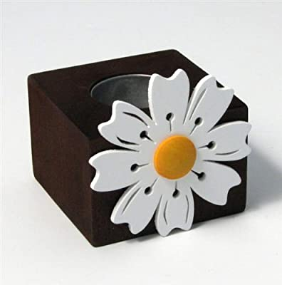 Spring Flower Candle Holder- Cocoa Browneggshell Whiteclementine from Nedholm Design