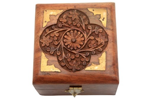 Decorative Wooden Jewelry Storage Box or Organizer Hand Carved from Rosewood with Brass Inlay Birthday Housewarming or Anniversary Gift Ideas for Men & Women