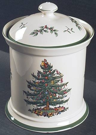 Spode Christmas Tree-Green Trim Cookie Jar W/Lid, Fine China Dinnerware